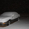 Snow before dawn in Desoto County.