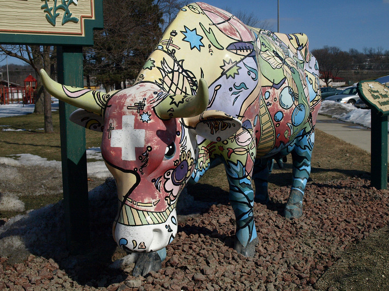 A painted cow in the home of Spotted cow, New Glarus.