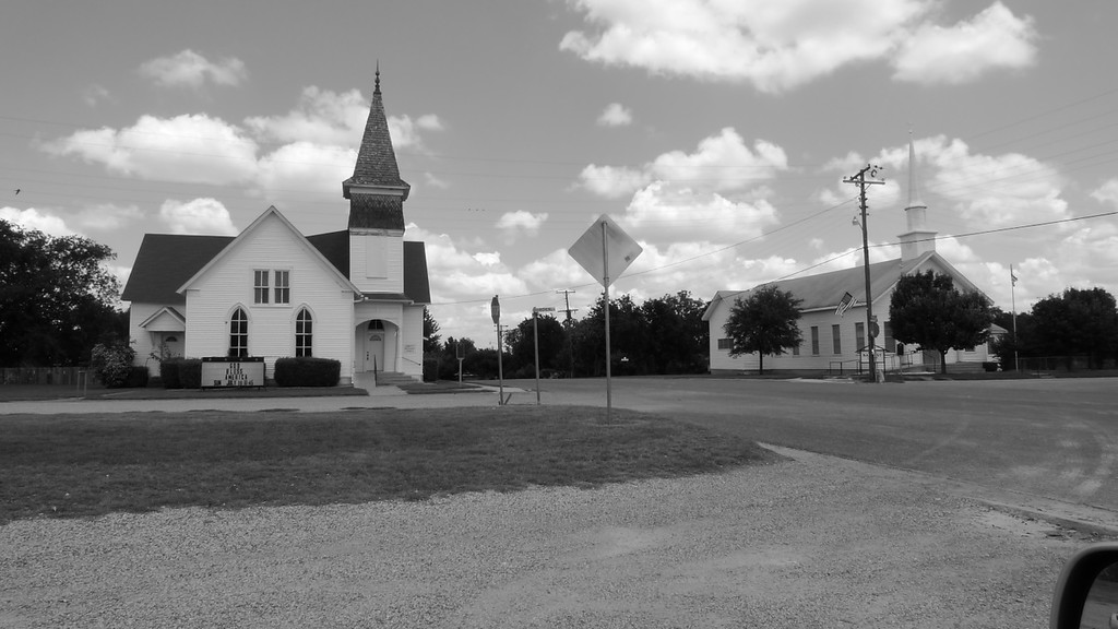 Abbott Methodist and Baptist Churches.  Abbott,TX