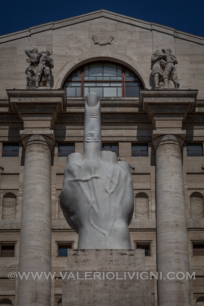 The Middle Finger by Maurizio Cattelan in Affari Square in front of the Milan's Stock Exchange - Il Dito di Maurizio Cattelan in Piazza Affari davanti la Borsa
