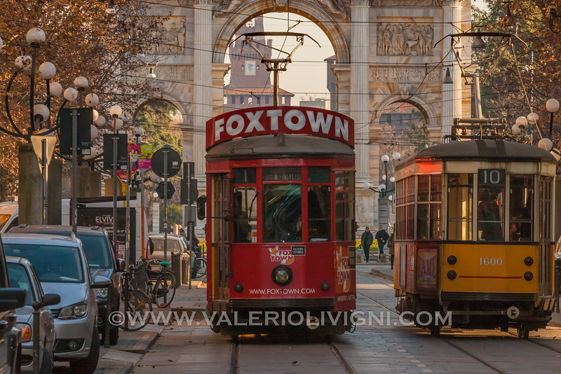 Trams at the Arch of Peace