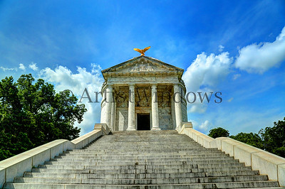 Illinois Memorial at Vicksburg battlefield.  Dedicated on October 26, 1906.  Looking up the 42 Stone Mountain Georgia granite steps, one step for each day of the Siege of Vicksburg, to the memorial modeled after the Roman Pantheon.
