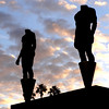 Statues at the Los Angeles Coliseum in California