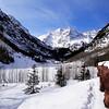 Maroon Bells near Aspen in the Winter