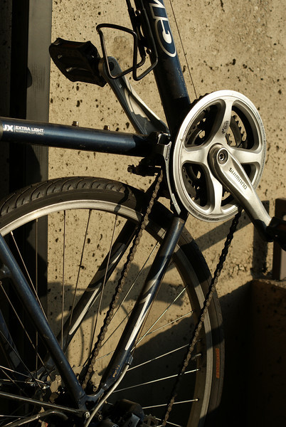 A nice, contrasty view of my bicycle hanging on my balcony.