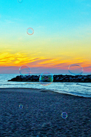 Sunset Beach Bubbles in Presque Isle State Park, Penn.