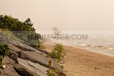 Foggy beach in the 1000 Islands, New York State Park