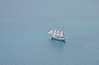 Four masted schooner as viewed from the top of the Sears Tower on Lake Michigan.