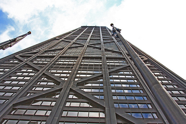 John Handcock building.   The second tallest building in Chicago.   Standing 1500 feet tall and costing 100 million.