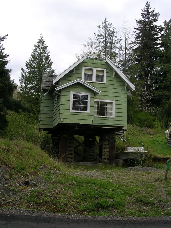 This is a house that has been off the ground for years.  It's sort of scary.