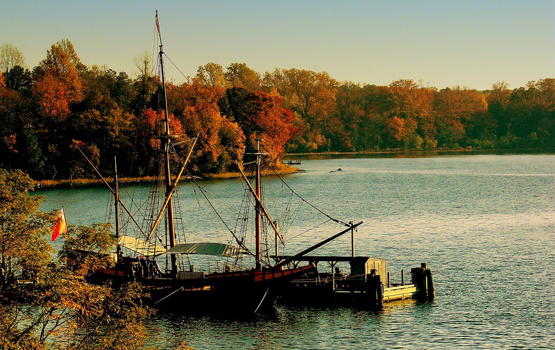 "The <i>Maryland Dove</i> Anchored in an Autumn Sunset  ""Tommorrow, for old England she sails"" - Roger Whitaker"