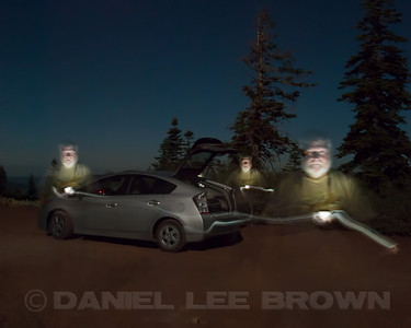 """Moon-lit scene with myself """"painted in"""" with the help of a Droid flashlight app. Nevada Co, CA, 8-14-11."""