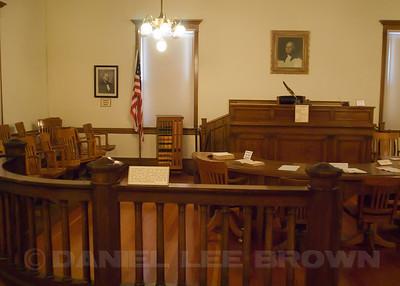 Court room inside the Court House in Genoa, Douglas county, NV, 2-26-11.  Nearly full frame.