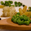 Lots of p's for P week: Peas, penne pasta, potatoes, pork on a plate.