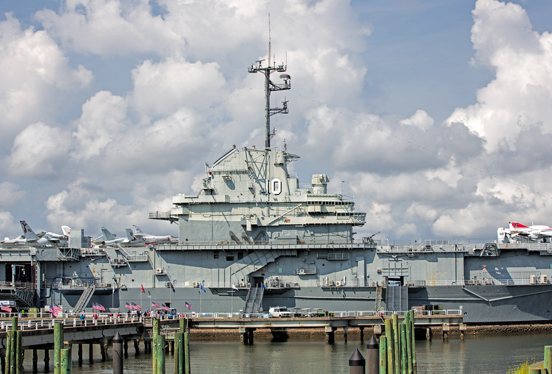 This is the USS Yorktown.  In 1975, this historic ship was towed from Bayonne, NJ to Charleston to become the centerpiece of Patriots Point Naval & Maritime Museum.