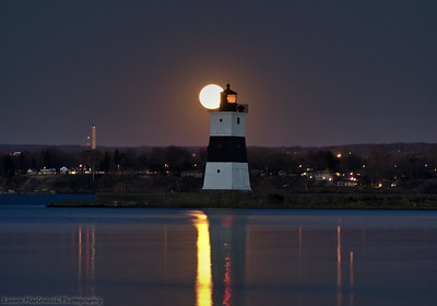 Full Moon rising over the Bay-North Pier Lighthouse
