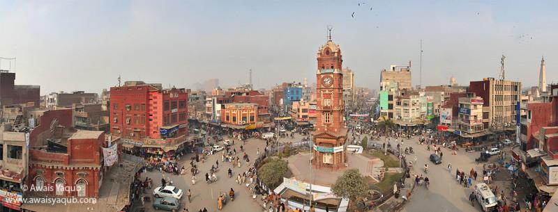 Panorama of Faisalabad clock tower