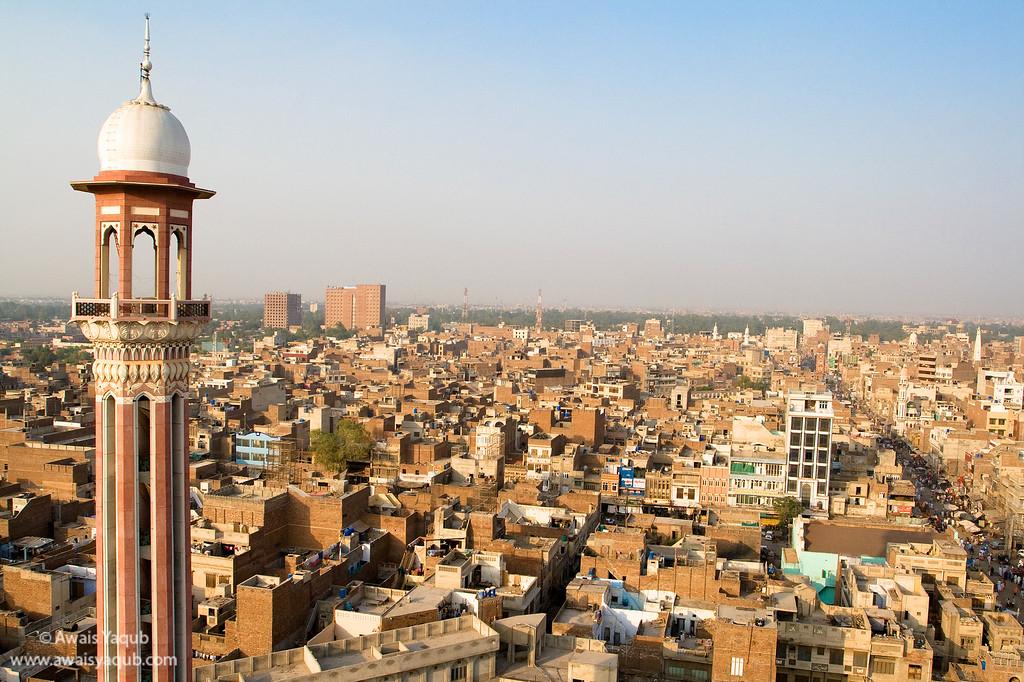 Birds eye view of Faisalabad city.