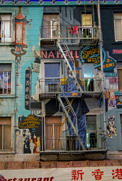 A colorful mural near Chinatown in San Francisco.