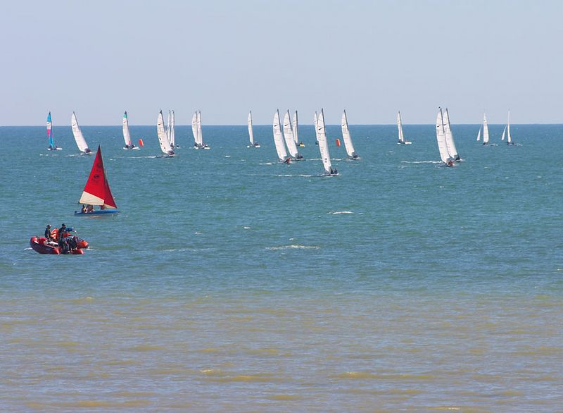 On the way back- Yachts racing at sea off Worthing