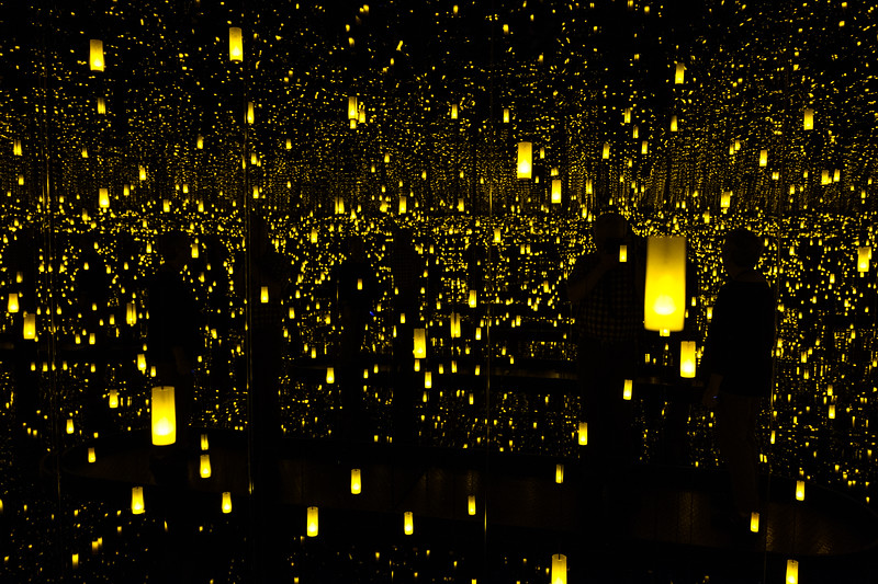 Inside Yayoi Kusama's Aftermath of Obliteration of Eternity in the Infinity Mirrors exhibit at the Cleveland Museum of Art.