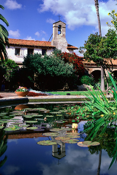 Pond and Steeple - Mission San Juan Capistrano, California