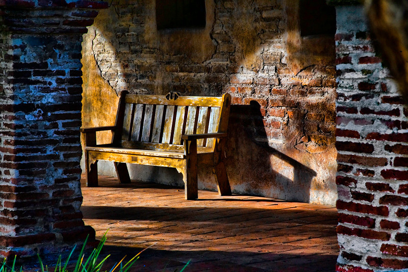 Bench in Late Afternoon Light - Mission San Juan Capistrano, CA