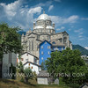 The Sanctuary of Our Lady of Blood and the blue building alongside (Re, Vigezzo Valley) - Il Santuario della Madonna del Sangue e la palazzina azzurra (Re in Val Vigezzo)