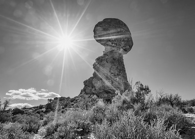 Balanced Rock Midday Sun BW