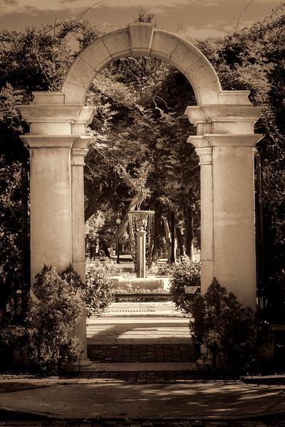 """WPP1590  """"Garden Archway"""" in dark sepia"""