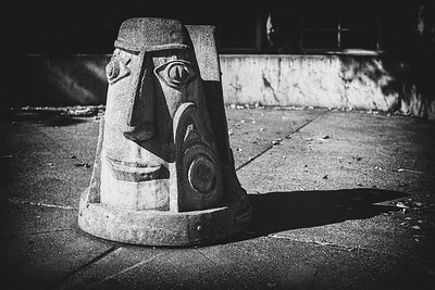 Concrete sculptures outside in front of Seattle Children's Theatre.