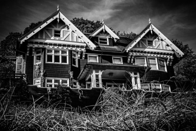 A beautiful, old home in Portland under attack from an army of skeletons for Halloween 2018.
