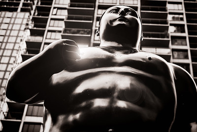 "Fernando Botero's ""Adam""  Light flare added in Photoshop."