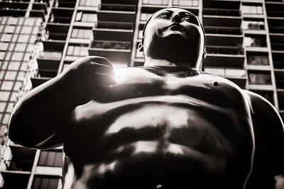 "Fernando Botero's ""Adam""  Light flare added in Photoshop."