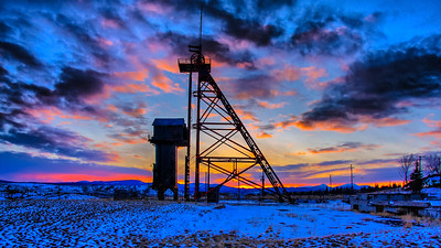 Sunset behind the Travona headframe in Butte.