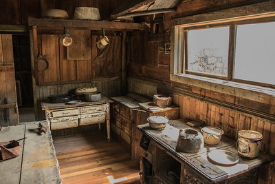 The kitchen in the old Wells Hotel in the ghost town of Garnet.