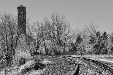 Rail approaching the old Chicago, Milwaukee and Saint Paul Railroad passenger depot in Great Falls.