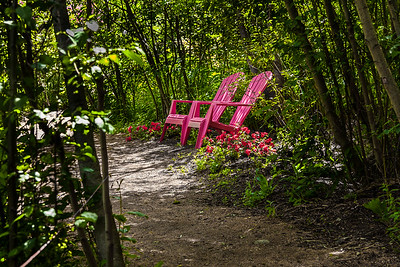 A peaceful resting spot along one of Tizer Gardens' many paths.