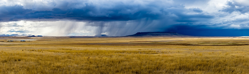 An autumn thunderstorm over Square Butte near Ulm.