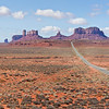 Panoramic view approaching Monument Valley from the North