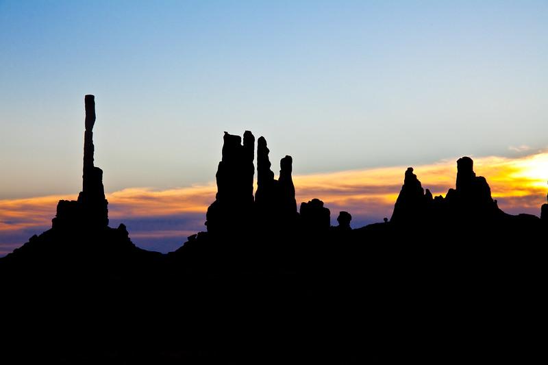 Totem Pole and Yei Bi Chei sunrise