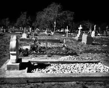 Black and White conversion, cemetery at Albuquerque, New Mexico
