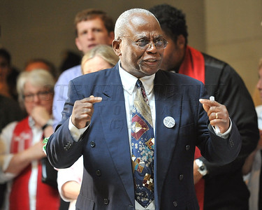 North Carolina AFL-CIO President James Andrews addresses those gathered inside the North Carolina State House. People gathered in the Halifax Mall in Downtown Raleigh on June 24, 2013 to protest the policies and laws proposed and passed by the North Carolina State General Assembly.