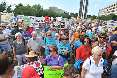 People gathered in the Halifax Mall in Downtown Raleigh on June 24, 2013 to protest the policies and laws proposed and passed by the North Carolina State General Assembly.