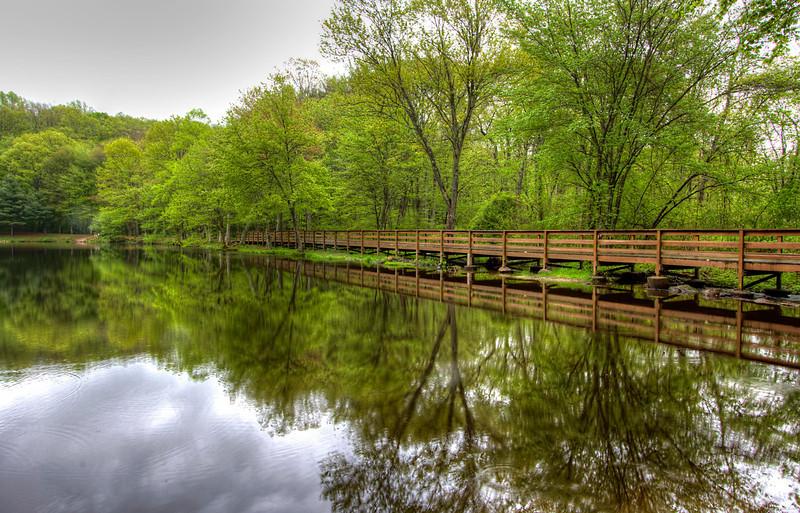 Wolfe Park Lake and Bridge<br /> Monroe, CT<br /> Image#:0163