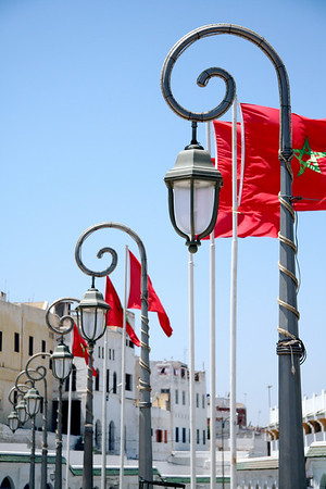 Flags and Lamps - Plaza, Moulay Idriss