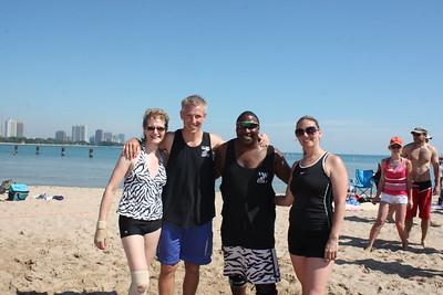 Rose, Brett, Keith and Sarah. Team Zebra on North Avenue Beach