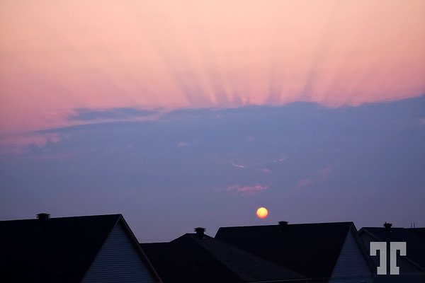 """August 18, 09<br /> <br /> Sunrise over the suburbia<br /> <br /> *** NOTE:  """"Red sky in the morning..."""" - it actually rained with a big storm, yesterday :)"""