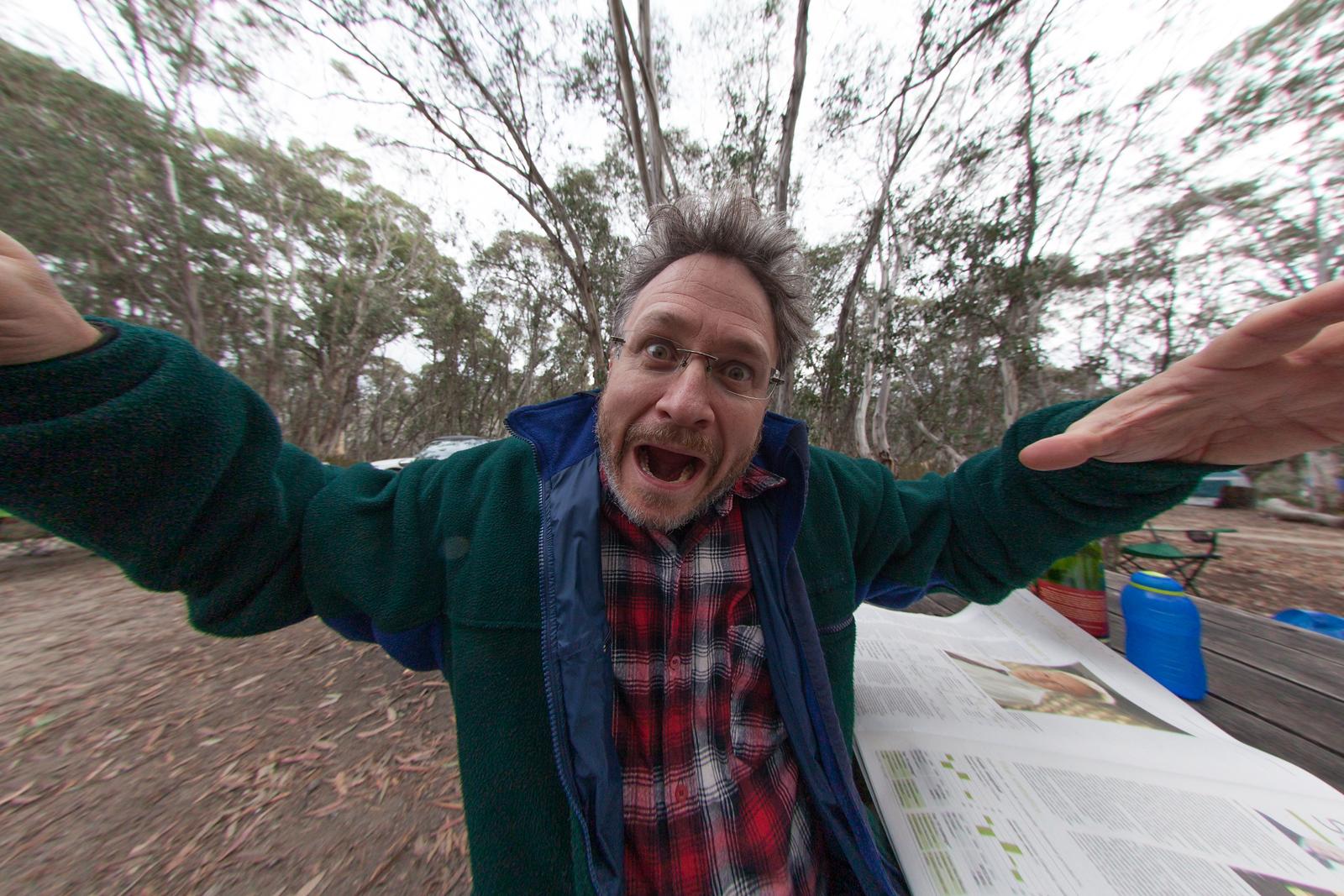 Phil Harrick in 2012 through a fisheye lens.