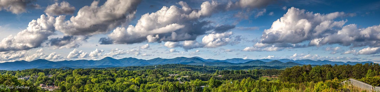 Panorama of the mountains behind Dahlonega, Ga. made from Crown Mountain.